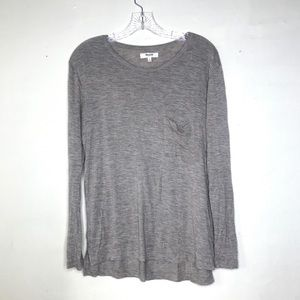 madewell long sleeve top shirt front pocket basic